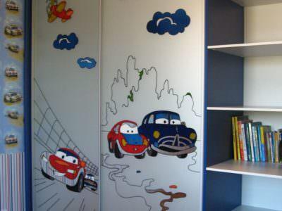 Шкаф-Купе в Детскую комнату Фотопечать Молния Маквин
