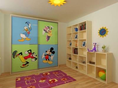 Шкаф-Купе в Детскую комнату Фотопечать+Полки горка